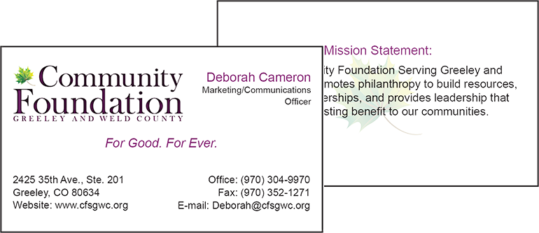 The community foundation business card consider it there cf business card colourmoves